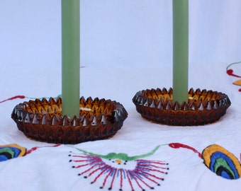 Pair of Amber Glass Candle Holders, vintage mid century