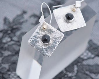 Black Star Diopside Jewely Diopside Earrings Hammered Silver Earrings with Black Diopside Gemstone, Silver Black Gold Dangle Earrings Gift