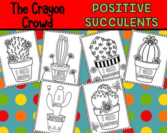 Positive Succulents Coloring Pages - The Crayon Crowd, party, party favors, Coloring book, Sheets, cactus, western, nature, succulents