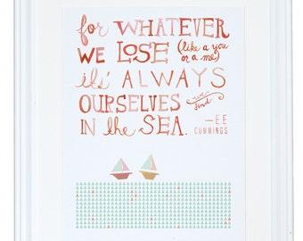 Nursery Wall Art, For Whatever We Lose, E. E. Cummings, Watercolor Art Print, Meera Lee Patel