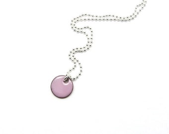 Tiny Charm Necklace - Small Pink Enamel Pendant with Delicate Sterling Silver Chain - Gift for her