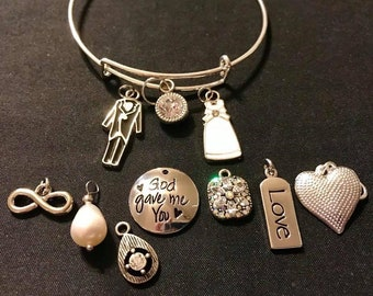 Engagement/Wedding/Bride and Groom with your choice of center charm stackable bangle bracelet