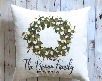 Farmhouse Pillow - Personalized Pillow - Cotton Wreath - Rustic Country Decor - 16 x 16 - French Farmhouse Decor - Gift Under 25