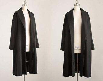 90s Vintage Black Wool Full Length Shawl Collar Over Coat / Size Medium