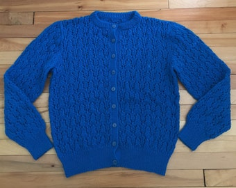 Vintage 1970s Women's Blue Wool Knit Cardigan Sweater! Size M