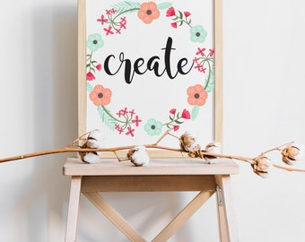Create Printable Art, Printable Quote, inspirational Decor Print, Typography Art, Wall Art Quotes, Home Decor Gallery Wall Poster Prints