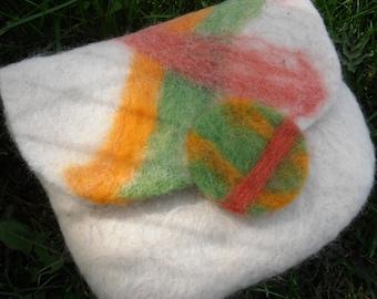 Felted Alpaca Clutch, White, Geometric Design, Felt Button, Magnetic Closure