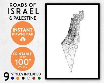 Israel map print, Palestine map, Israel print, Israel poster, Israel wall art, Map of Israel, Israel art print, Israel map art, Israel art