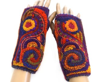 Crochet Fingerless Gloves, Freeform Fingerless Gloves, Mittens, Freeform Crochet Women's OOAK Wearable Art in rainbow colors