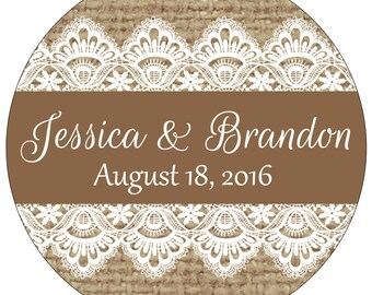 96 - 1.6 inch Glossy Personalized Burlap Wedding Stickers  hundreds of designs to choose from - change design to any color or wording WR-181