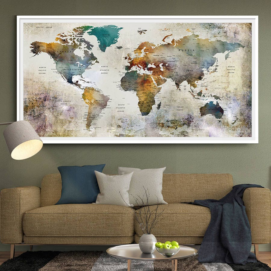 Large watercolor world map print world map wall art detailed zoom gumiabroncs Gallery