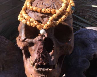 108 Skull Bone Bead Impermanence Mala: Solid Earth