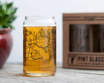 Pint Glass Set of two Vegetable design