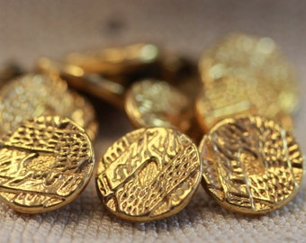Mod Retro 60s Vintage Gold Plate or Goldtone Carved Brass Backed Shank Fashion Buttons (11) 15 mm