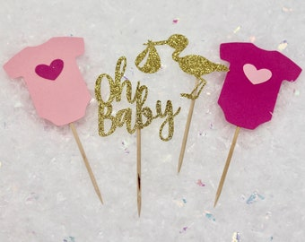 12 ct. Baby Shower Cupcake Toppers - Oh Baby Cupcake Toppers - Baby Shower Decorations - Stork Cupcake Toppers - Onesie Cupcake Toppers