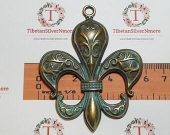 1 pc per pack 73x58mm Large Fleur De Lis Pendant Patina Bronze Lead Free Pewter