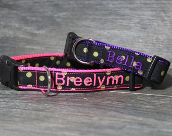 Personalized Gold Polka Dot Dog Collar - Choose your color