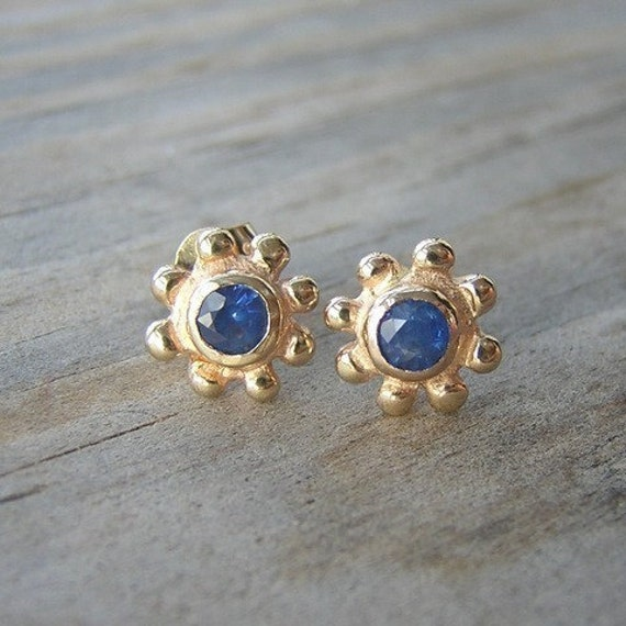 Sapphire And 14k Yellow Gold Stud Earrings by Etsy