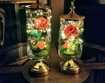 Beauty and the Beast Inspired Handmade Metallic Crepe Paper Rose/Copper Embelished Apothecary Jar/LED/Enchanted Rose