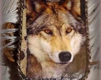 Altered Altoid Tin, Gift Card Box, Hand Crafted, Keepsake Box, 3.5 x 2.75 x .50 in, Trinket Box, Wolf, Credit Card Case, Stash Box