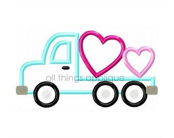 Heart Flatbed Truck - SATIN Stitch (#593) - Valentine Applique Design - INSTANT DOWNLOAD
