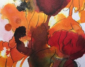 "Dreaming in Orange (Original Art) 5""x7"" Ink"