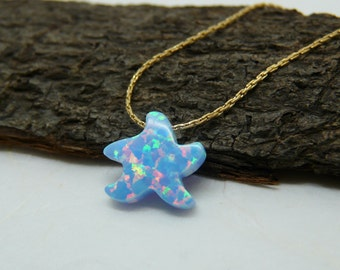 Starfish necklace, Beach jewelry, Summer necklace, Sea star necklace, Beach wedding, Opal starfish, Starfish jewelry, Starfish pendant