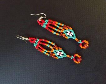 Beaded earrings, native american earrings, beaded earrings, huichol earrings, duster earrings, festival earrings,  colorful earrings,