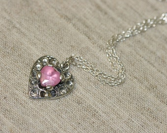 Pink Heart Stone, Heart Necklace, Silver Nacklace ,925 Sterling Heart Pendant, Pink Stone Jewelry, Heart Pendant, Romantic Jewelry,