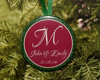 First Christmas Wedding Ornament - Green & Burgundy - customized with your name - C01