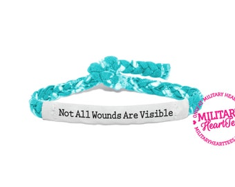 PTSD Awareness Bracelet, Not all wounds are visible -  Soldier Wife, Girlfriend, Fiance, Sister, Mom