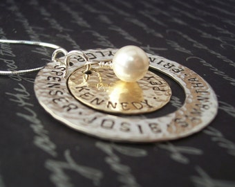 Personalized Necklace for Grandma or Mom - Hand Stamped Jewelry STERLING Silver RING with  BRASS Disc and Pearl necklace