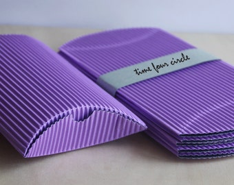 Set of 5, Purple Strip Pillow Boxes, Favor, Gift, Party