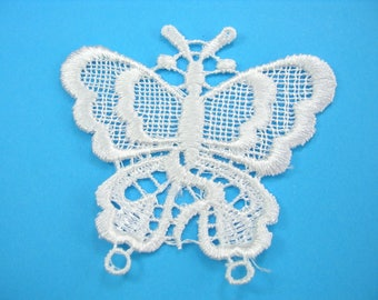 APPLIQUE lace fabric: 70 * 60mm White Butterfly