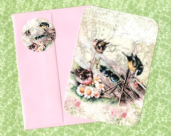 Flat Note Cards, Bird Lover, Bird Note Card, Florals, Note Card Set, Stickers