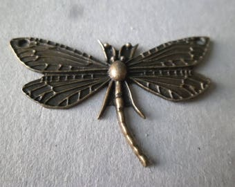 x 1 pendant connector charm Dragonfly bronze 49 x 31 mm