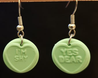 Handmade Fimo Green Loveheart Sweets Earrings