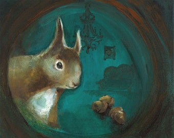 """squirrel art - """"Come On In""""  (teal, woodland, whimsical, home)"""