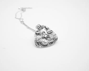 Gingko Pendant,  Fine Silver Jewelry, Handmade, Nature Inspired