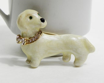 Vintage 70s 80s Porcelain Ivory Rhinestone Emerald Green Eyes Doxie Dachshund Dog Brooch Pin