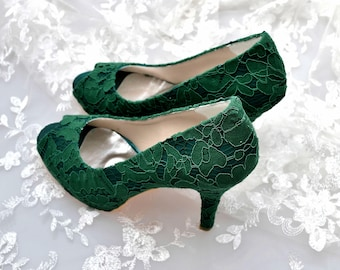Custom handmade Emerald Dark Green Guipure french Lace Bridal wedding satin peep toe platform pump heel