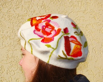 Beret Womens beret French beret Wool beret Felted beret Felted hat pattern Felt beret Girls wool beret White woolen beret  Womens felt hats