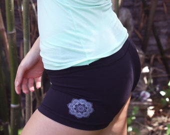 OUT is in USA Mandala or Lotus Yoga shorts,Lotus yoga shorts, workout shorts,Lotus flower yoga shorts,choose Mandala/Lotus flower design