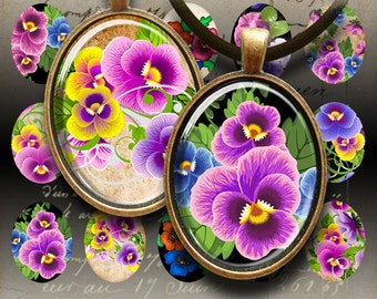 30x40 mm oval images PANSIES Printable download Digital Collage Sheet for glass and resin pendants bezel settings, cabochon tray cabs