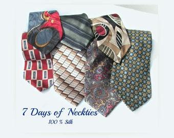 vintage tie lot, Business tie, men's gift, Silk tie, long tie, 7 Ties,      # 51