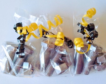 Chocolate 3 D Nuts and Bolts favors or cupcake toppers