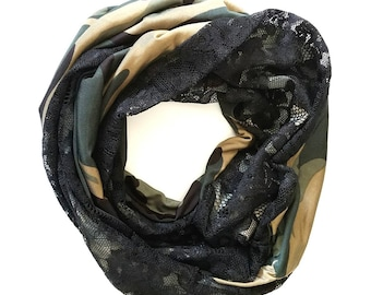 Camo Infinity Scarf with Black Lace