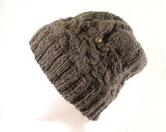 Owl Knit Hat Upcycled Yarn Vintage Buttons Gray Small to Medium