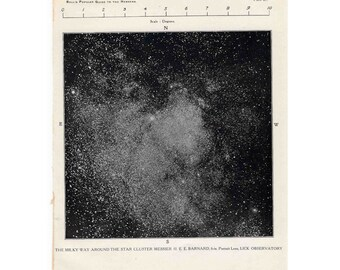 1955 MILKY WAY VINTAGE lithograph -  original vintage print - celestial astronomy