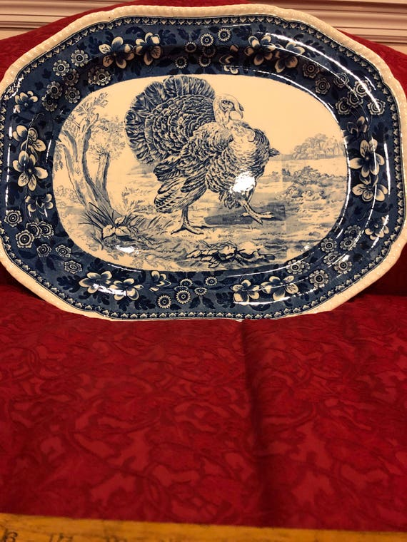 FREE SHIPPING- Antique- Copeland Spode-Large-Turkey-Game Bird-Platter